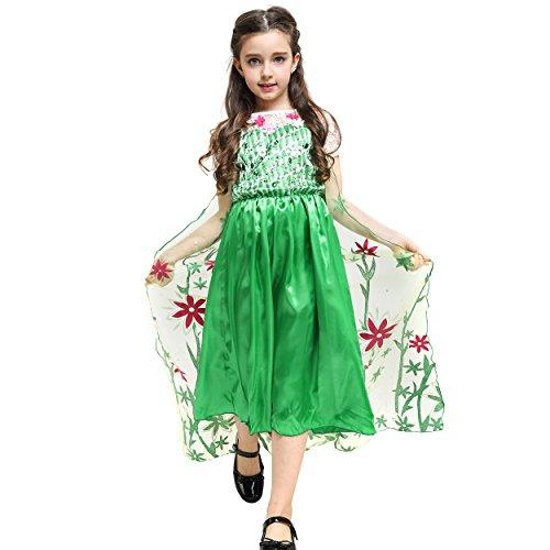 Imagen de katara  vestido de princesa para niña, traje de disfraz de elsa, la reina del hielo, vestido de frozen fever, verde con tul  7 8 años