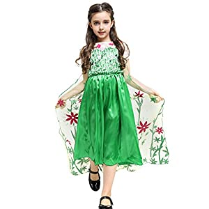Katara - Vestido de princesa de Frozen Fever, disfraz de Elsa la Reina de Hielo, verde con tren floral - para niñas de 7-8 años