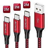 Câble USB Type C, AVIWIS [Lot de 3, 2M] Câble USB C en Nylon Tressé Charger Rapide...
