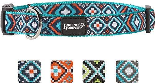 Unbekannt Friends Forever Hund Halsband für Hunde-Fashion Gewebte Quadratisch Muster Cute Puppy Kragen, erhältlich in Größe S/M/L, Medium 14-20