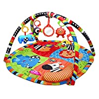 Baby PlayMat, Play Gym,Safari Activity Play Mat & Gym for New Born Babies and Toddlers,Soft Toys,Fun Animals,Textures,Mirror, Discovery Carpet for Infants,New Born -Suitable from Birth