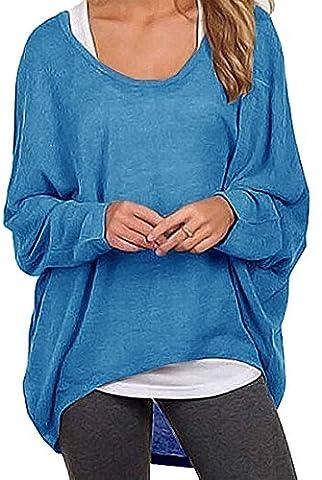Meyison Damen Lose Asymmetrisch Sweatshirt Pullover Bluse Oberteile Oversized Tops T-shirt Blau-S
