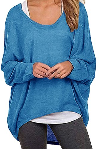 Meyison Damen Lose Asymmetrisch Sweatshirt Pullover Bluse Oberteile Oversized Tops T-shirt Blau-M (Blaues T-shirt)