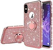 "EnjoyCase Glitter Case for iPhone Xs Max 6.5"",Bling Diamond Rhinestone Girls Women Cover with Ring Kickst"