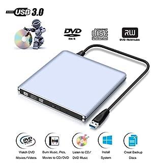 Externes DVD CD Laufwerk, ASEL USB 3.0 DVD/CD Brenner Silber für MacBook Pro/Air / Laptops und Desktops Notebook unterstützt Windows 10/8/7/XP/2003/Vista/Linux, Mac OS - 9.5