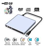 Externes DVD CD Laufwerk, ASEL USB 3.0 DVD/CD Brenner Silber für Macbook Pro/Air/Laptops und Desktops Notebook unterstützt Windows 10/8/7/XP/2003/Vista/Linux, Mac OS - 9.5