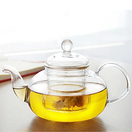 dealglad® Hohe Qualität hitzebeständig Kaffee Blume Teekanne Glas Flasche Cup mit-Ei Tea Leaf Herbal 600 ml durchsichtig