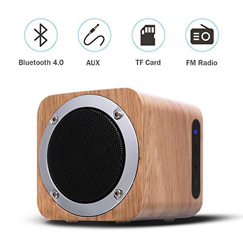 Preisvergleich Produktbild TKSTAR Holz Drahtloser Bluetooth Lautsprecher, Hölzerner Kasten Lautsprecher, Telefon Bluetooth Lautsprecher, Computerlautsprecher FM Radio Beweglicher Bluetooth 4.0 Lautsprecher Geschenkkarte Beweglicher Audio IXB06 (Weißer Ahorn)