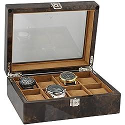 Armbanduhr Sammler Box für 8Handgelenk Uhren in dunklen Wurzelholz von aevitas