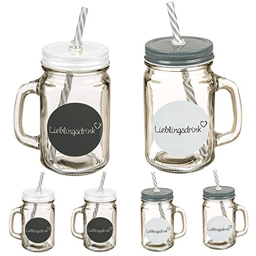 Di-Nesh (804) 6er Set Trinkglas Lieblingsdrink mit Henkel Deckel Strohhalm 500ml Glas