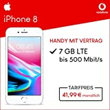 Apple iPhone 8 (Silber) mit 64 GB internem Speicher, Vodafone Smart L+ inkl. 7GB Highspeed Volumen mit max 500 Mbits, inkl. Telefonie- und SMS Flat, EU-Roaming, 24 Monate min. Laufzeit, mtl. € 41,99