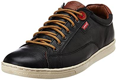 Levis Men's Tulare King Mood Black Leather Sneakers - 6.5 UK