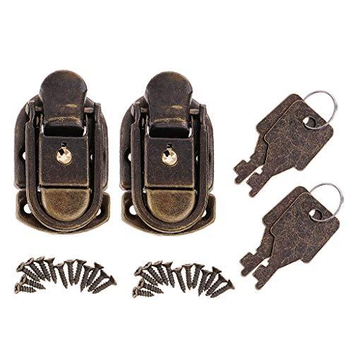 B Blesiya 2Pcs Old Vintage Antique Candado Lock W/Keys para Bolsa Pequ