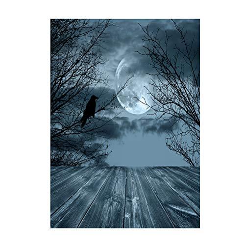 LEDMOMO 90 * 150 cm 3D Halloween Creepy Kulisse Realistische Horror Night Crow Hintergrund für Parteien Fotografie Studio Photo Booth (Booth Kulisse Für Halloween Die Photo)