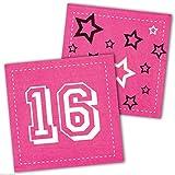 Neu: 12 Servietten * Sweet 16 * in Magenta für Eine Party Zum 16. Geburtstag   Feier Sechzehn Teenie Teenager Einweg Fete Motto Mädchen Pink Rosa Girl