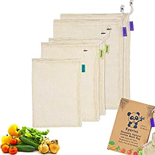 Kyerivs Wiederverwendbare Null-Abfallbeutel für obst und -gemüse, aus Bio-Baumwolle, 5 Stück (2 l, 2 m, S), Stoff