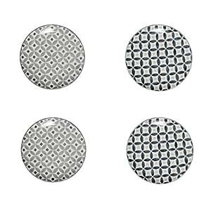 SEMA 97008 Old Floor Assiette X4 avec 2 Assortis Céramique Gris 20,5 x 20,5 x 7,2 cm