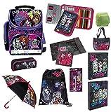 Familando Monster High Schulranzen Set 16tlg. Federmappe gefüllt, Regenschirm, Turnbeutel, Schulrucksack PL