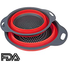 2pcs Colador de silicona plegable / tamiz HanSemay Kitchen Craft.Safe y Durable.Includes tamaño 2 grandes 11,5 y 9,5 pulgadas. (Red)