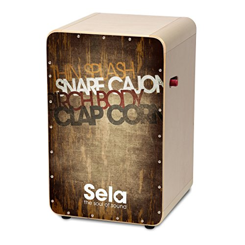 Cajón con superficie de chapa SE 075CaSela Snare, chapa elegante, listo para tocarlo, totalmente construido, de Sela, vintage marrón