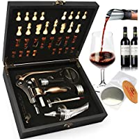 Yobansa Boîte en bois 8 pièces accessoires du vin Coffret cadeau avec Chess, lapin Tire-bouchon Set, aérateur de vin Opener Stopper Ensemble Cobe Chess Box Set