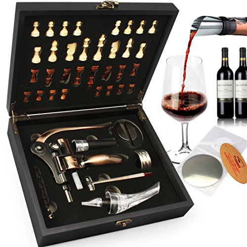 yobansa Holz Box 8Stück Wein Zubehör Geschenk Set mit Schach, Kaninchen Korkenzieher Set, Wein Öffner Luftsprudler Stopper Set Cobe Chess Box Set