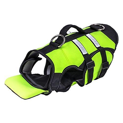 Pawaboo Hundeschwimmweste - verstellbar Neopren Reflektierende Doggy Schwimmweste Schwimmtraining Schwimmhilfe Rettungsweste mit Griff für Hunde, Haustier, L, Fluoreszenz Grün und Schwarz