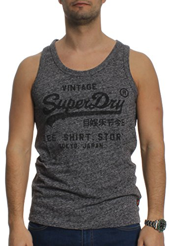 Superdry Tank Men SHIRT SHOP VEST Flint Blue Grit Grau