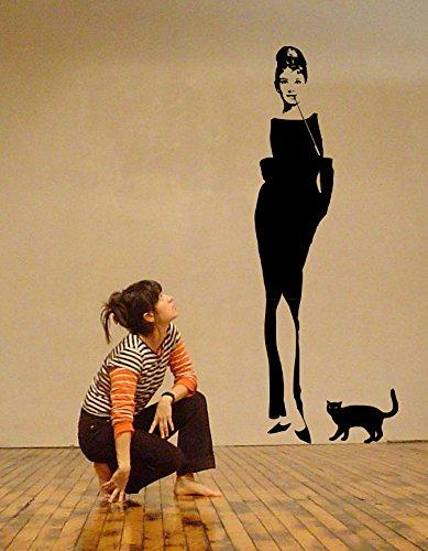 The Cool Graphic Audrey Hepburn Breakfast at Tiffany 's Art Wand Aufkleber, schwarz, 61cmx170cm