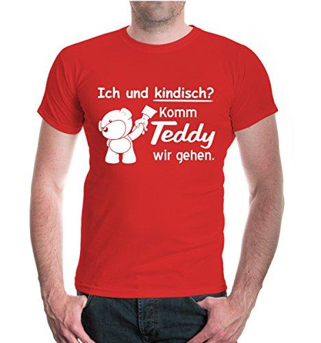 buXsbaum® T-Shirt Ich und kindisch? Komm Teddy wir gehen Red-White