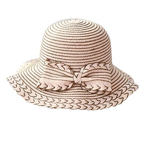 EUCoo Damen Sommerhut Blende Faltbarer Sonnenschutz Sonnenhut Bogenstrohhut Strandsand Fischerhut(Rosa)