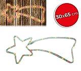 757198 Stella cadente natalizia luci MULTICOLORE telaio in metallo 65 x 30 cm. MEDIA WAVE store