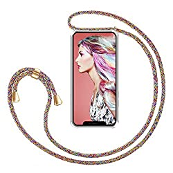 """Zhinkarts Handykette kompatibel mit Apple iPhone 11-6,1"""" Display - Smartphone Necklace Hülle mit Band - Schnur mit Case zum umhängen in Rainbow"""