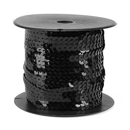 Pailletten String, DIY 100 Yards 6mm Shiny Pailletten Trim Saiten Paillette Spool String Trim Spitze für Kleid, Stirnband(Schwarz) -