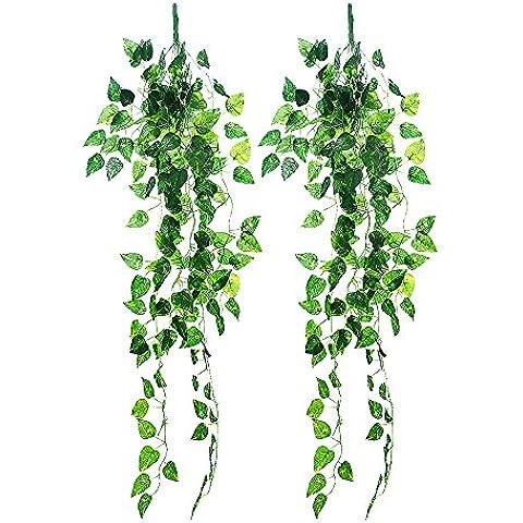 Outus 2 piezas Las Hojas de Plantas Artificial Colgando Ivy Vine Plantas Artificiales Hoja para Boda Casa Jardín Pared Decoración