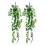 2 Stück künstlicher hängender Efeu Rebe Pflanzenblätter Lanyard für die Dekoration von Hochzeit Garten Wand