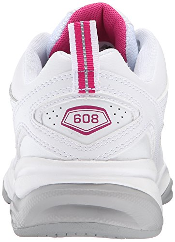 New Balance Women's WX608V4 Training Shoe,White/Navy,10 D US White/Pink