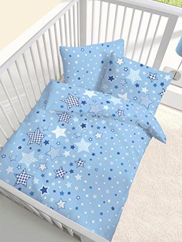 Fein Biber Baby Bettwäsche Sterne Stars himmelblau - Größe 40x60 + 100 x 135 cm - hergestellt in Deutschland