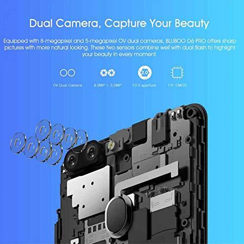 Bluboo D6 Pro 4G Dual SIM Smartphone, Android 8.1 Mobile Phones Unlocked, 2GB RAM+16GB ROM, Dual Rear Camera, Face ID & Fingerprint Unlock, 5.5 18:9 Display Screen Smart Phone (Red) Img 2 Zoom