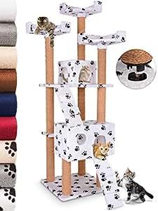Leopet -Griffoir à chat Montage rapide Arbre à chat 173 cm Arbre de jeu pour chat Griffoir-grattoir à chat Meuble pour chat - Blanc avec motif pattes
