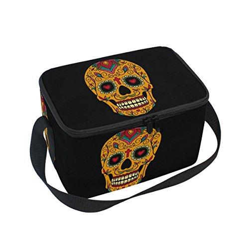 DOSHINE mexikanischen Floral Sugar Skull Isolierte Lunch Box Tasche, Kühler Ice Lunch Tasche Wiederverwendbar für Männer Frauen Erwachsene Kinder Jungen Mädchen