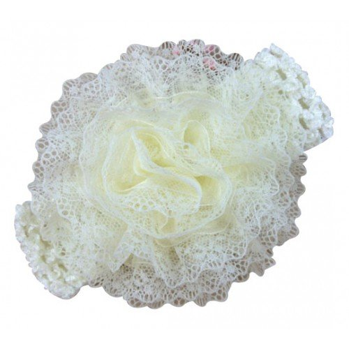 NeedyBee Ivory Flower Bunch Baby Headband in Crochet Lace for Baby Girls kids Hair Accessories(Kids Hair Accessories)  available at amazon for Rs.147