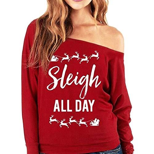Soupliebe Langes Hülsen Weihnachtsren der Mode Frauen druckte zufälliges Tunika T Shirt Kapuzen Kapuzenpullover Hoodie Pullover Sweatshirt