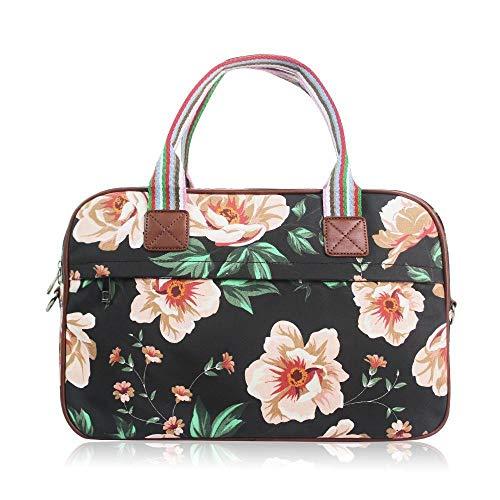 Sporttasche Frauen Canvas | Gym Bag | Handgepäck | Reisetasche Damen Weekender | Retro Vintage Tasche Blumen | Schwarz