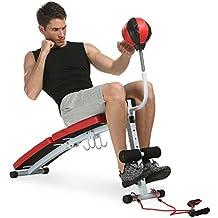 Banco de Abdominales Ejercicio Adjustable Plegable con Pesas Bola de Boxeo Tiras de Goma para Hacer ABS Abdominales Musculación Interior Hogar Gimnasio, 123 x 30.5 x 65cm, Peso Máx 220 KG (EU STOCK)