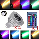 iNextStation 4-Pack Colour Changing MR16 3W RGB LED Light Bulb 16 Color Changing LED Light Bulb [Long Life Span] Lighting Lamp Bright Energy Saving Mood Bulbs - 16 Colour - w/ IR Remote Controller