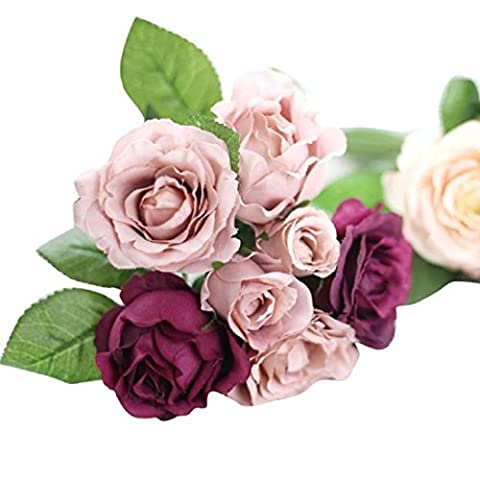 Artificia Bouquet, Internet 7 Heads Artificial Silk Fake Flowers Leaf Rose Wedding Floral Decor Bouquet (Purple)