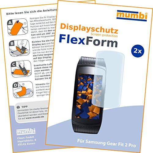 mumbi Flex Schutzfolie kompatibel mit Samsung Gear Fit 2 Pro Folie, Bildschirmschutzfolie (2x)