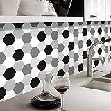 Pag Creative Selbstklebend PVC Tile-Like Vintage Sechskant Aufkleber für die Wohnzimmer Küche Badezimmer Wand Boden Dekorativ Aufkleber 205m (20x 500cm) Hts004