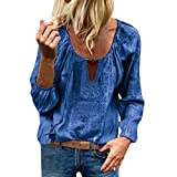 LOPILY Stickereie Bluse Damen Elegante Quasten Oberteile mit Kordelzug Hippie Tunika O-Neck Sexy Spitzen Tops für Hochzeitsgast Laternenärmel Oberteile Damen Langarm Bluse Herbst (Blau, 34)